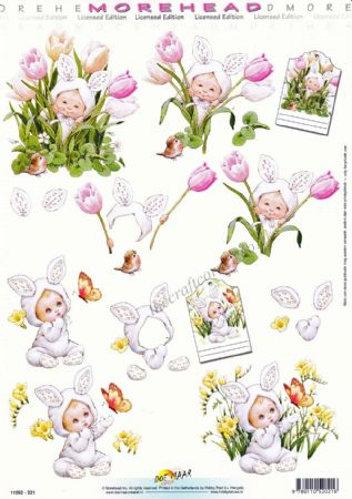 Morehead Cute Children Dressed as a Bunny Rabbit 3D Decoupage Sheet